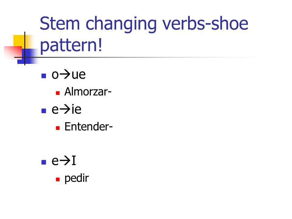 Stem changing verbs-shoe pattern!