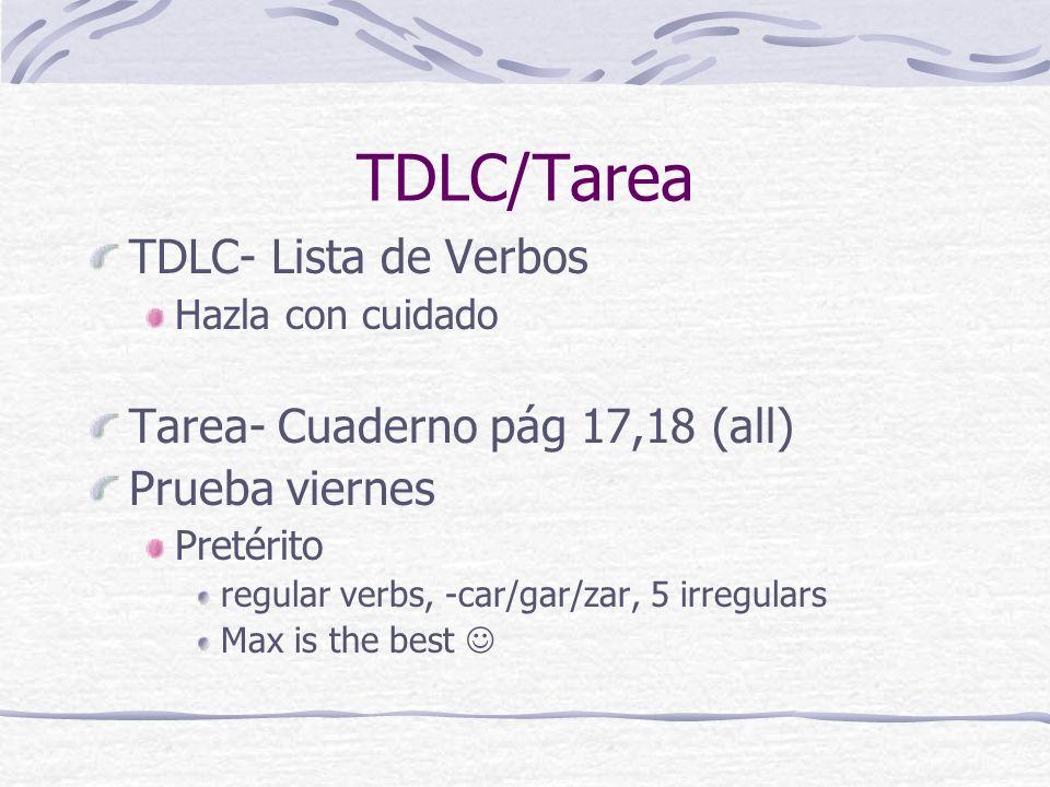 TDLC/Tarea TDLC- Lista de Verbos Tarea- Cuaderno pág 17,18 (all)