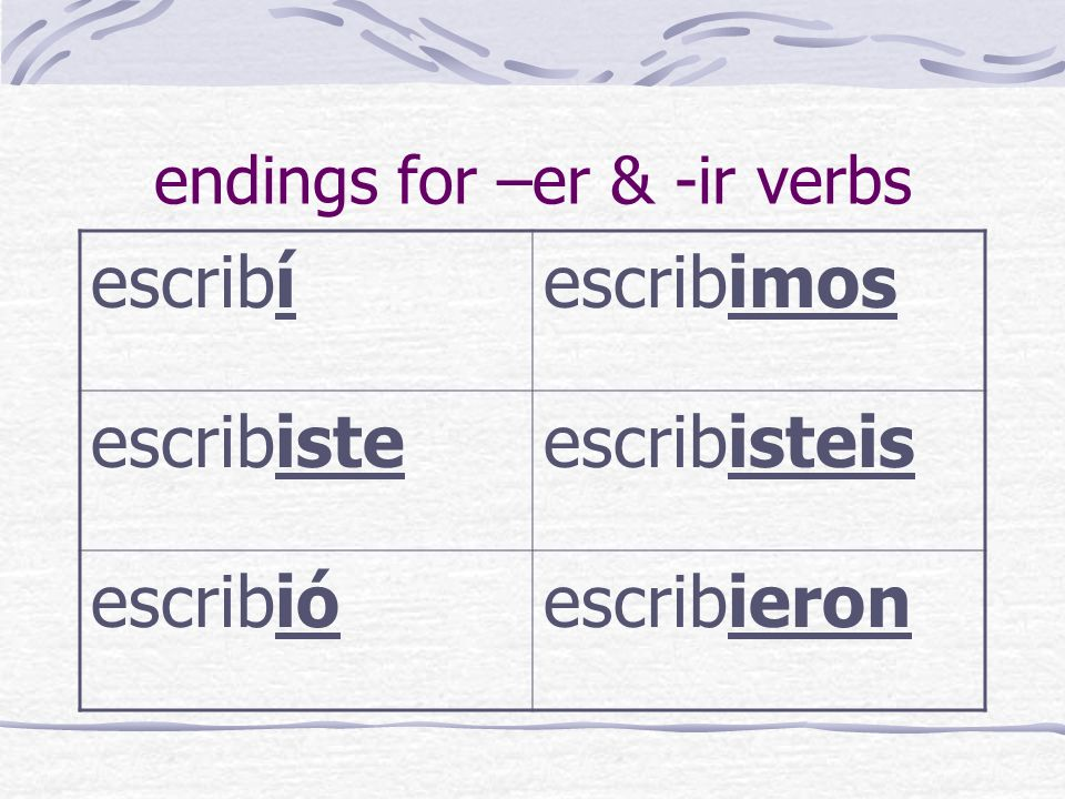 endings for –er & -ir verbs