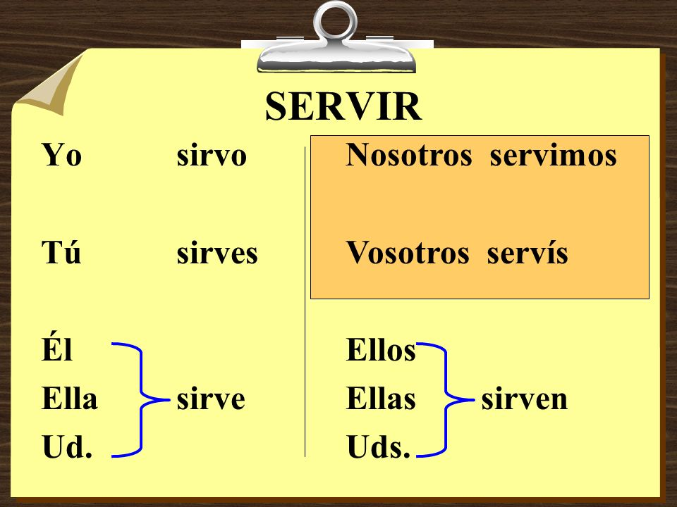 SERVIR Yo sirvo Tú sirves Él Ella sirve Ud. Nosotros servimos