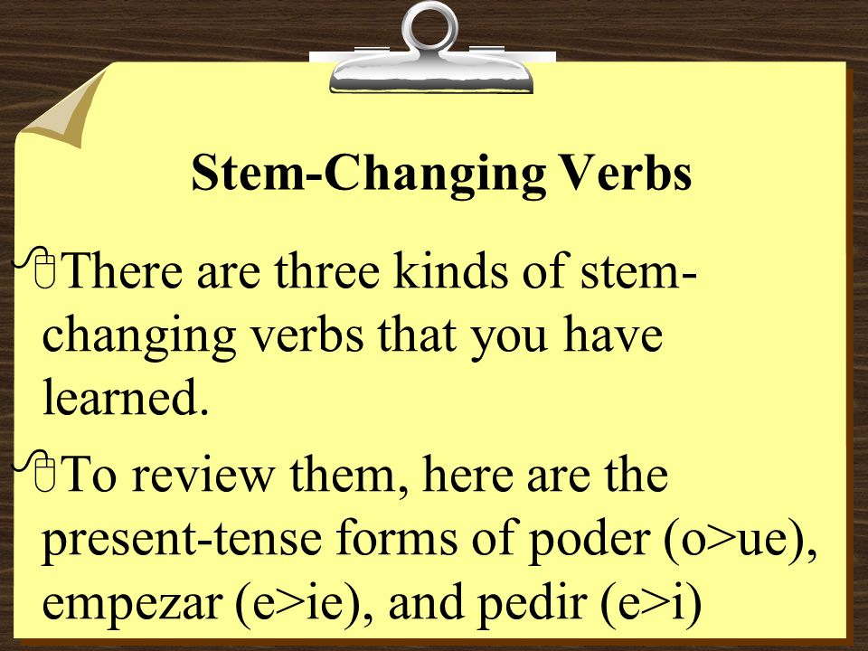 Stem-Changing VerbsThere are three kinds of stem-changing verbs that you have learned.