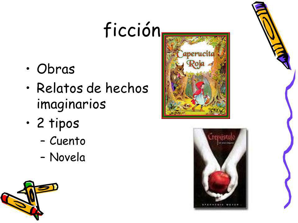 ficción Obras Relatos de hechos imaginarios 2 tipos Cuento Novela