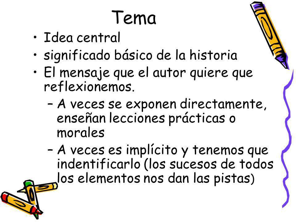 Tema Idea central significado básico de la historia