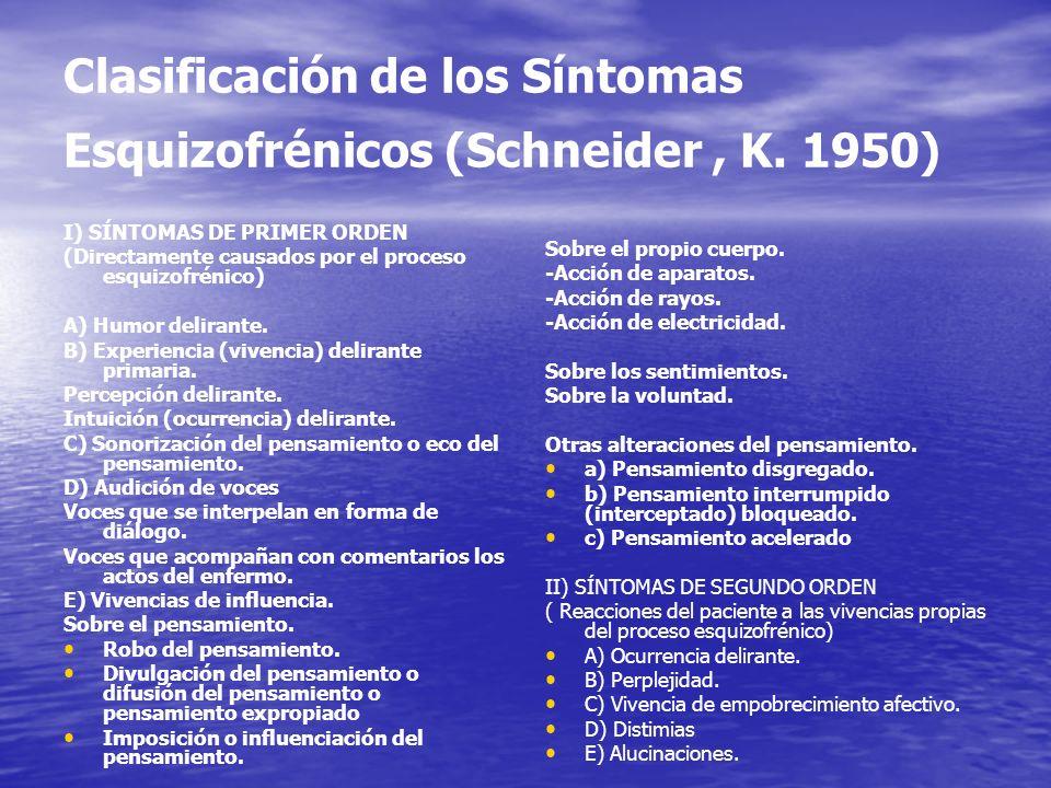 Clasificación de los Síntomas Esquizofrénicos (Schneider , K. 1950)