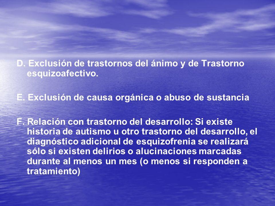D. Exclusión de trastornos del ánimo y de Trastorno esquizoafectivo.