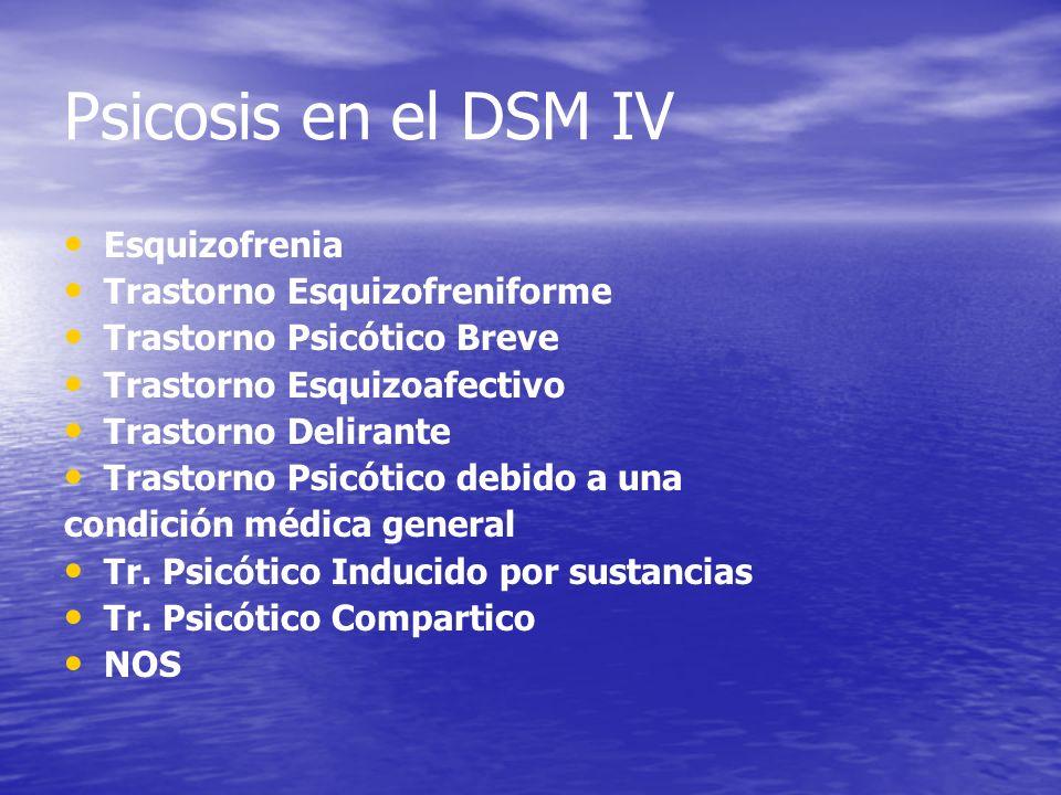 Psicosis en el DSM IV Esquizofrenia Trastorno Esquizofreniforme