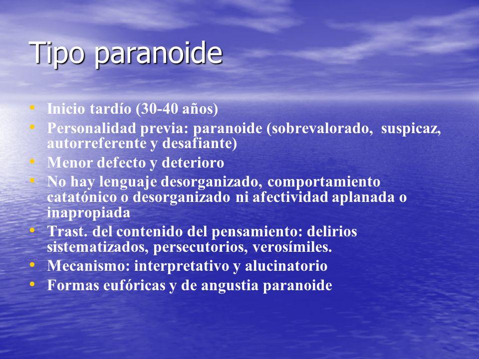 Tipo paranoide Inicio tardío (30-40 años)