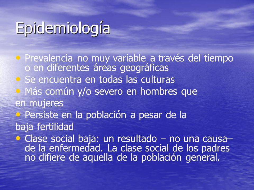 Epidemiología Prevalencia no muy variable a través del tiempo o en diferentes áreas geográficas. Se encuentra en todas las culturas.