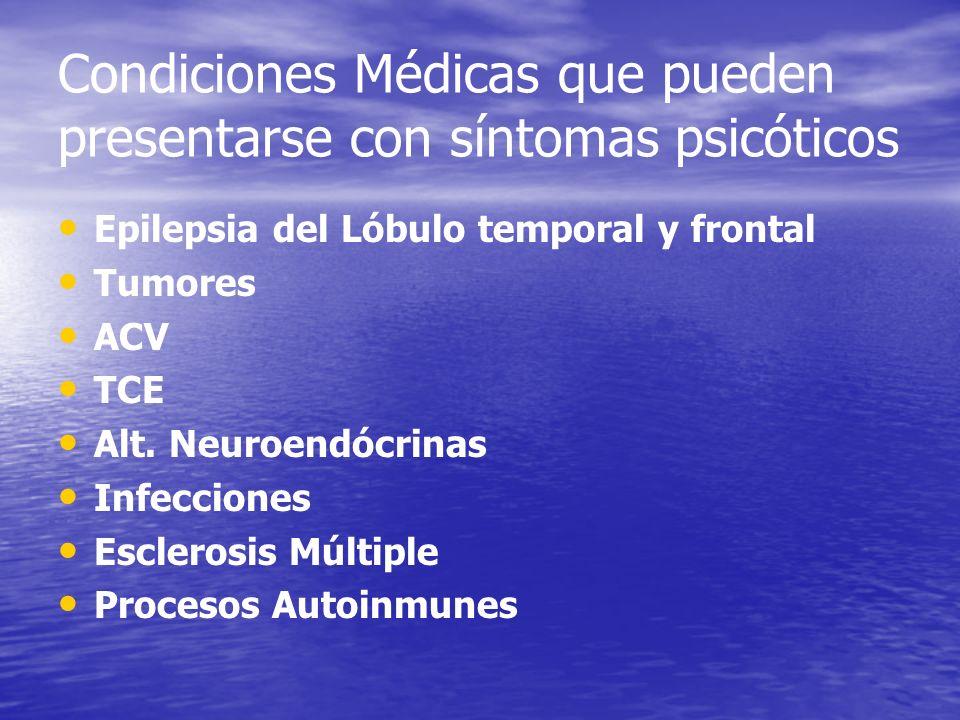 Condiciones Médicas que pueden presentarse con síntomas psicóticos