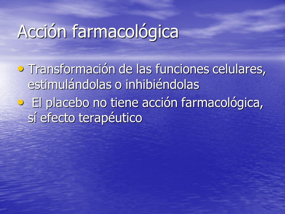 Acción farmacológica Transformación de las funciones celulares, estimulándolas o inhibiéndolas.