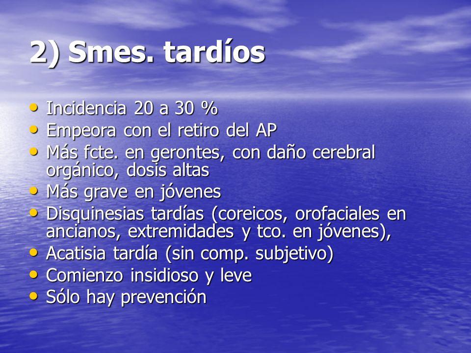 2) Smes. tardíos Incidencia 20 a 30 % Empeora con el retiro del AP