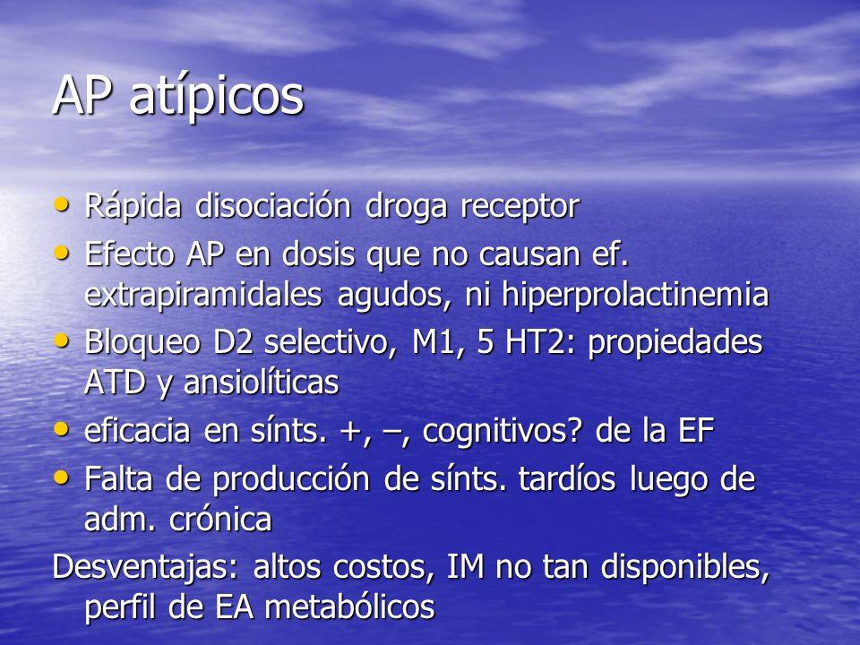 AP atípicos Rápida disociación droga receptor