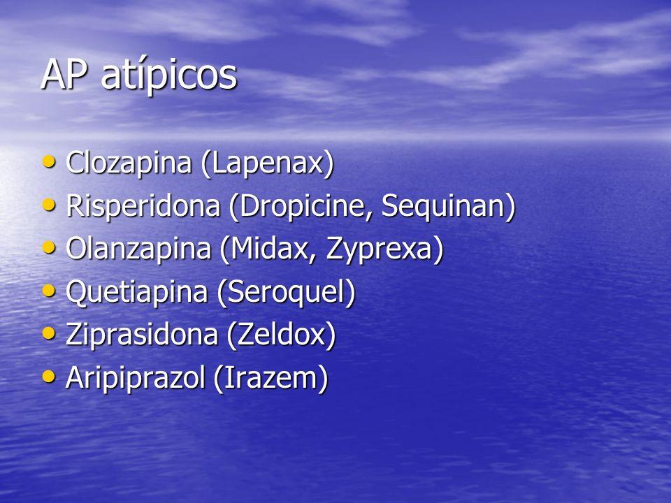 AP atípicos Clozapina (Lapenax) Risperidona (Dropicine, Sequinan)