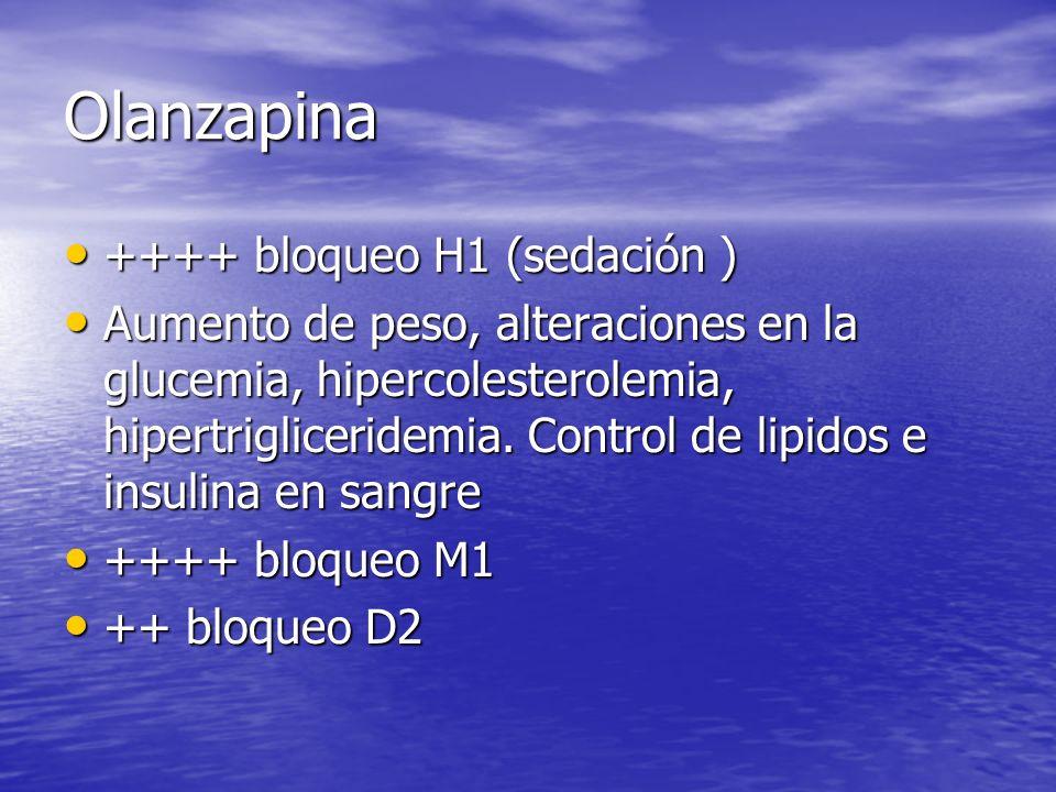 Olanzapina ++++ bloqueo H1 (sedación )