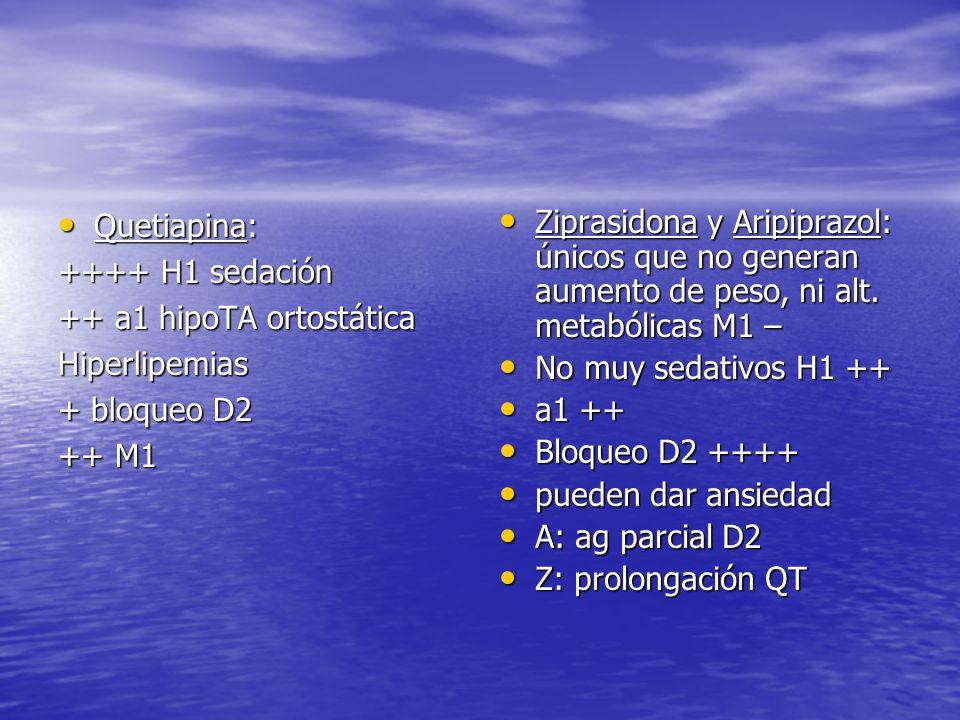 Quetiapina: ++++ H1 sedación. ++ a1 hipoTA ortostática. Hiperlipemias. + bloqueo D2. ++ M1.