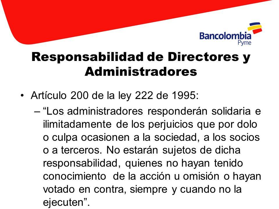 Responsabilidad de Directores y Administradores