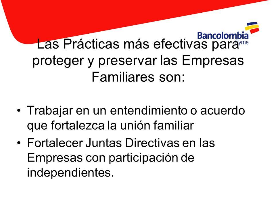 Las Prácticas más efectivas para proteger y preservar las Empresas Familiares son: