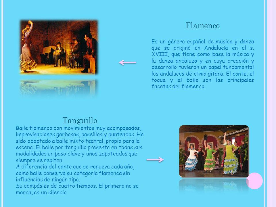 Flamenco Es un género español de música y danza que se originó en Andalucía en el s. XVIII, que tiene como base la música y la danza andaluza y en cuya creación y desarrollo tuvieron un papel fundamental los andaluces de etnia gitana. El cante, el toque y el baile son las principales facetas del flamenco.