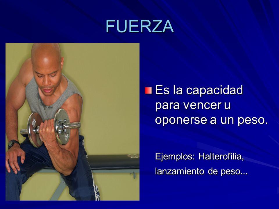 FUERZA Es la capacidad para vencer u oponerse a un peso.