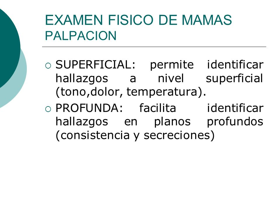 EXAMEN FISICO DE MAMAS PALPACION