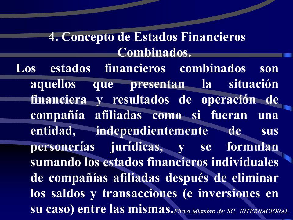 4. Concepto de Estados Financieros Combinados.