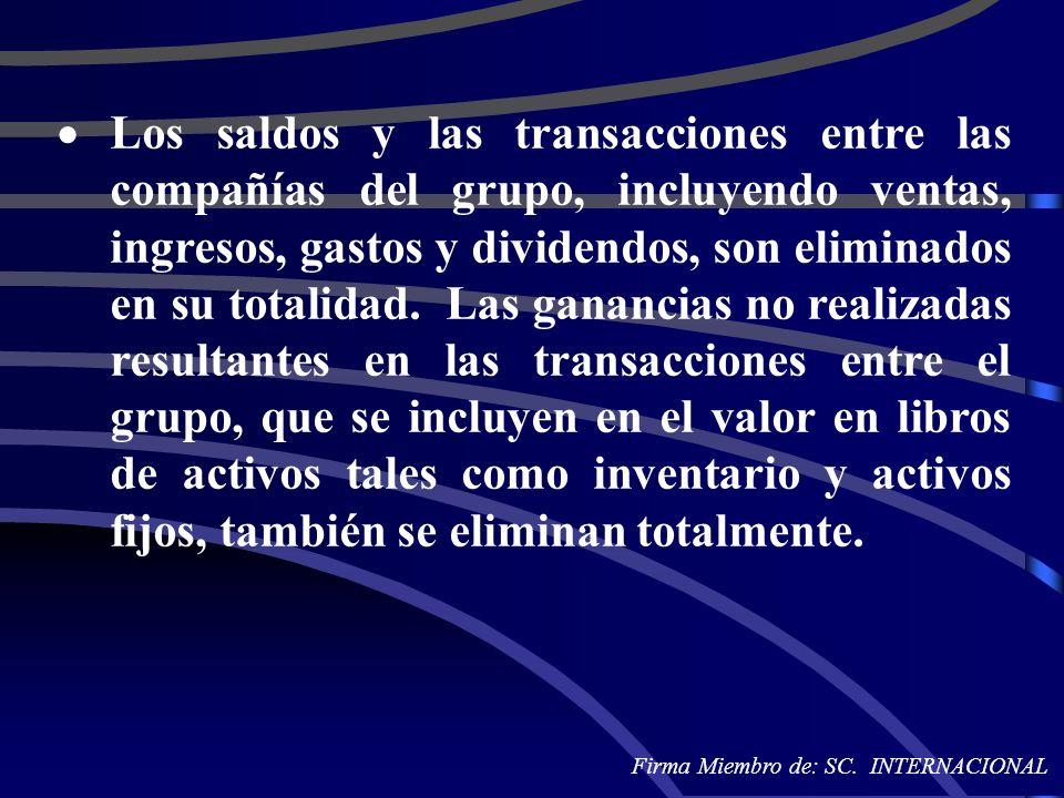 Los saldos y las transacciones entre las compañías del grupo, incluyendo ventas, ingresos, gastos y dividendos, son eliminados en su totalidad. Las ganancias no realizadas resultantes en las transacciones entre el grupo, que se incluyen en el valor en libros de activos tales como inventario y activos fijos, también se eliminan totalmente.