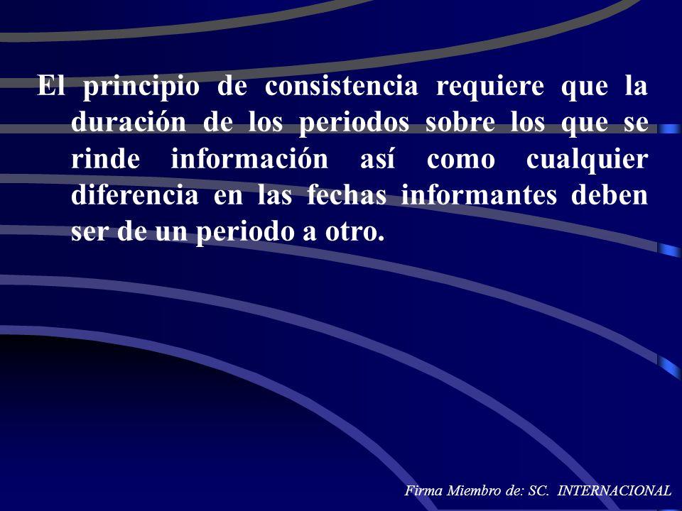 El principio de consistencia requiere que la duración de los periodos sobre los que se rinde información así como cualquier diferencia en las fechas informantes deben ser de un periodo a otro.