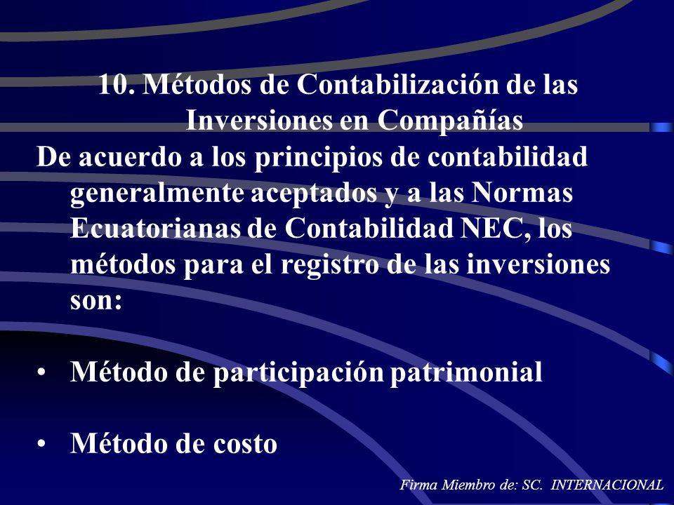 10. Métodos de Contabilización de las Inversiones en Compañías