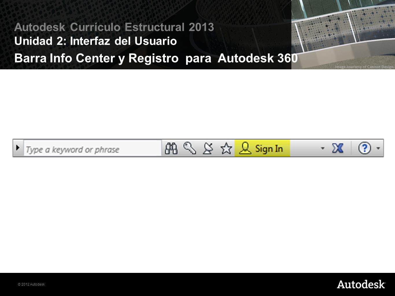 Barra Info Center y Registro para Autodesk 360