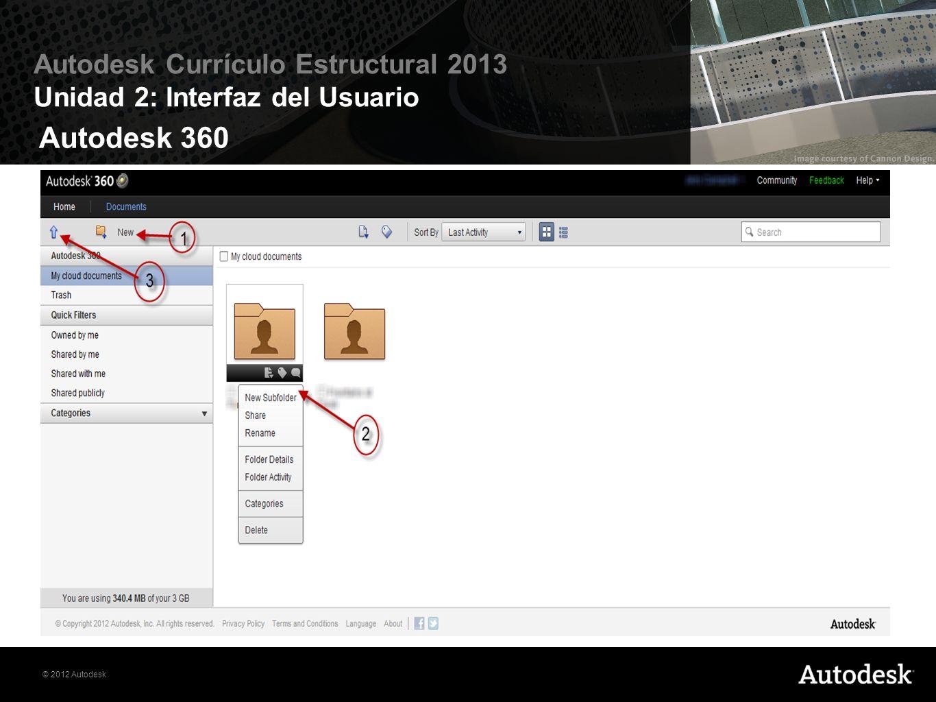 Autodesk 360 El icono Crear nueva carpeta le permite agregar y organizar proyectos en con secuencia.