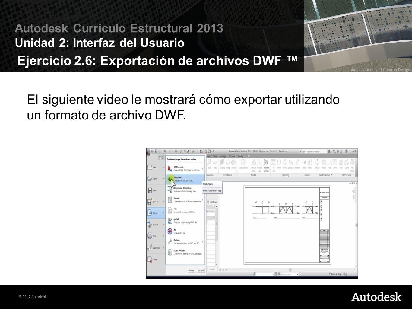 Ejercicio 2.6: Exportación de archivos DWF ™
