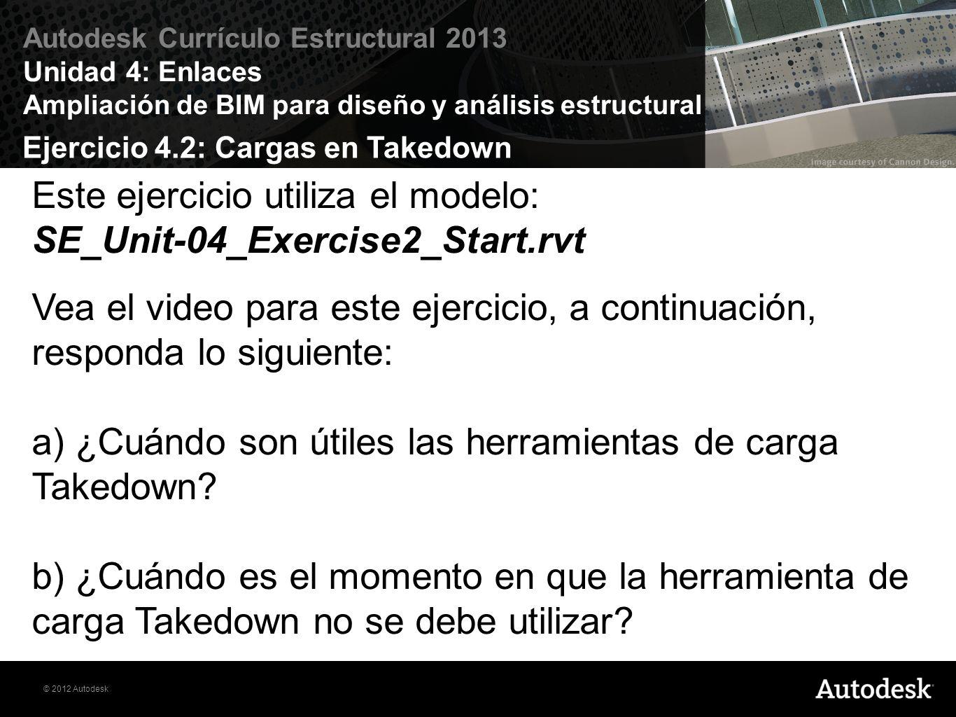 Ejercicio 4.2: Cargas en Takedown