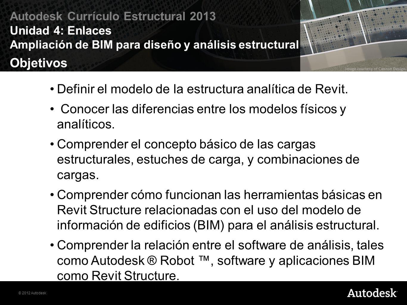 Objetivos Definir el modelo de la estructura analítica de Revit. Conocer las diferencias entre los modelos físicos y analíticos.