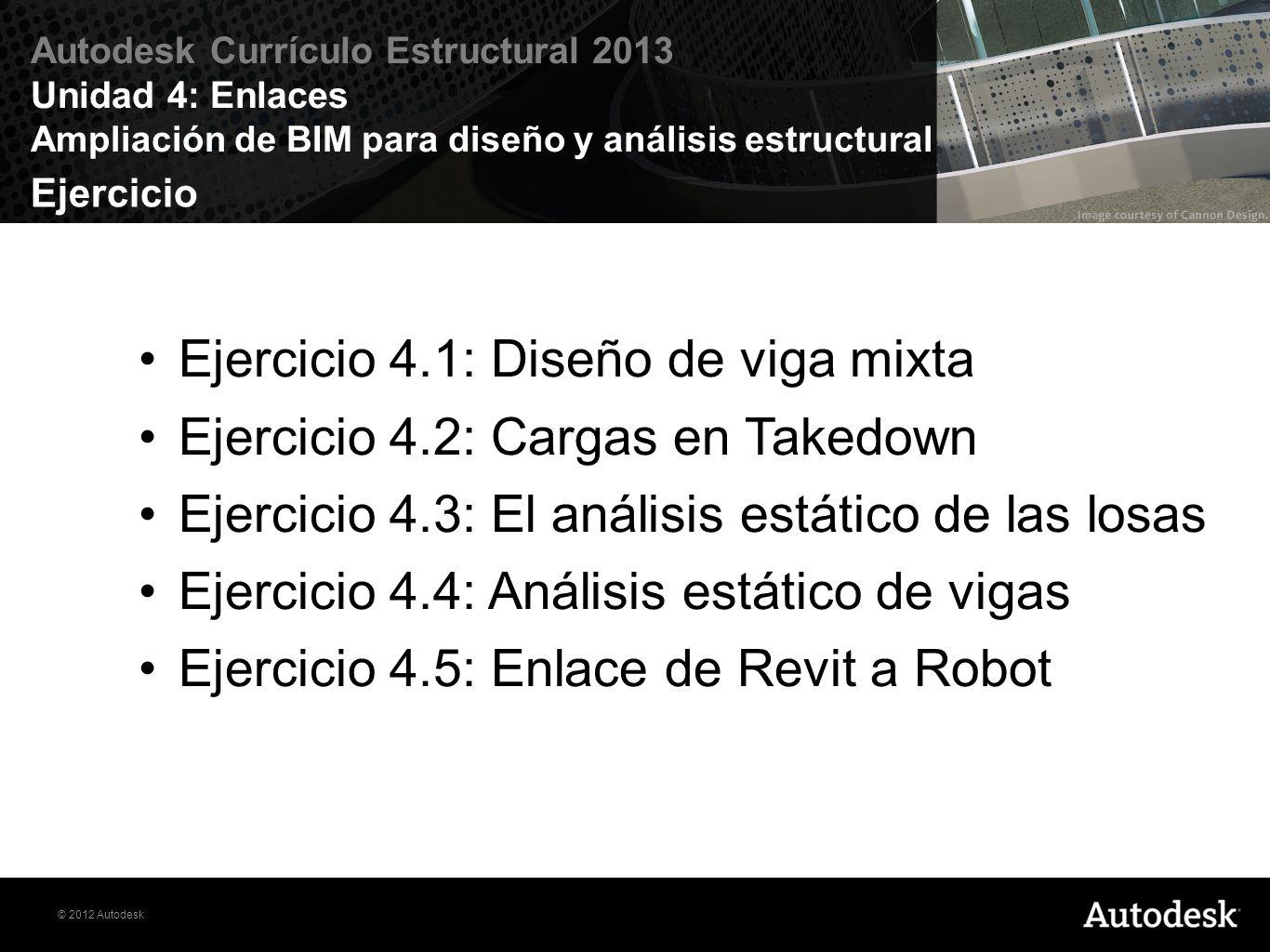 Ejercicio 4.1: Diseño de viga mixta Ejercicio 4.2: Cargas en Takedown