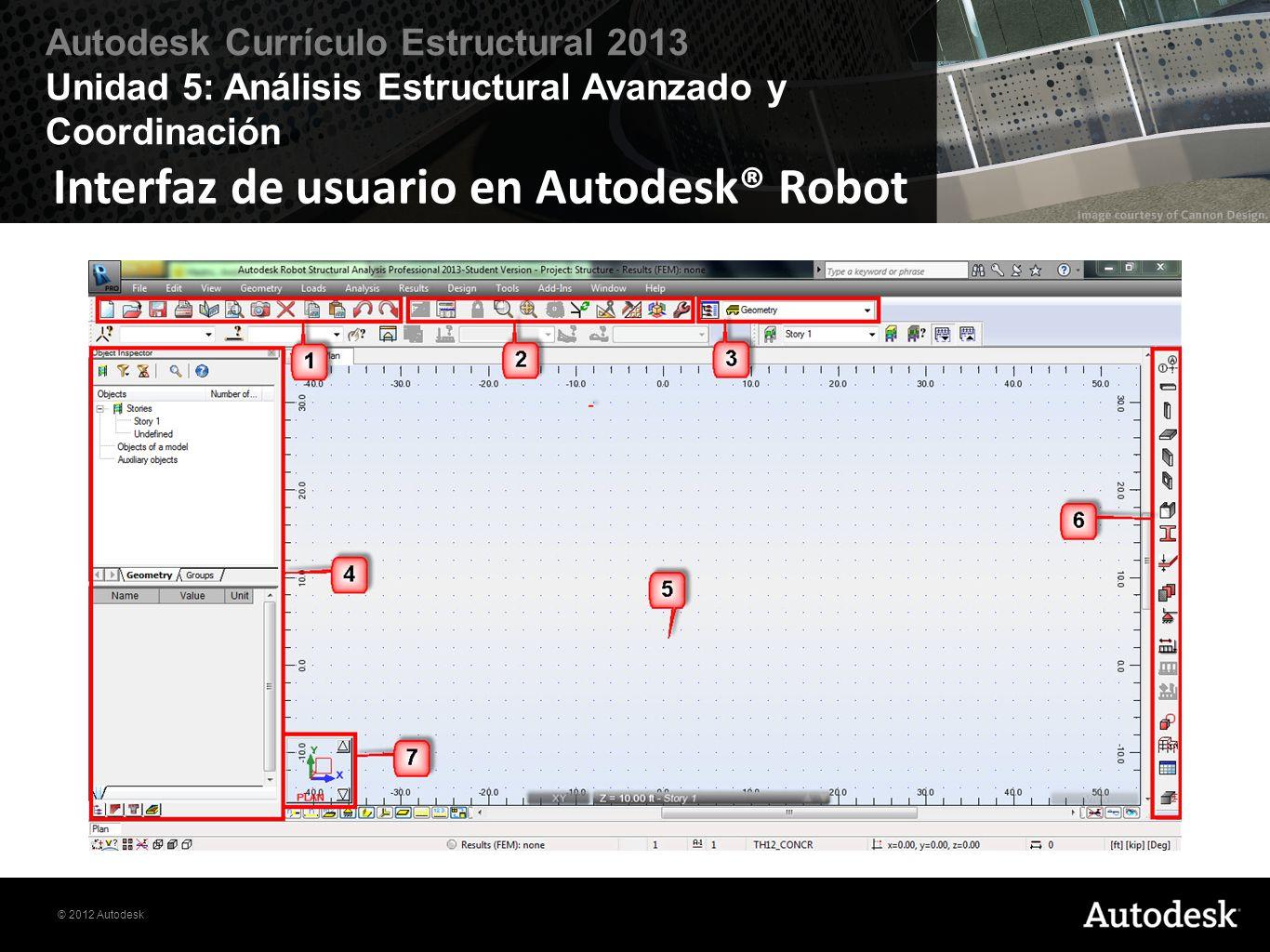 Interfaz de usuario en Autodesk® Robot