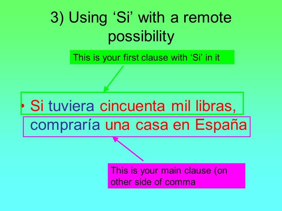 3) Using 'Si' with a remote possibility