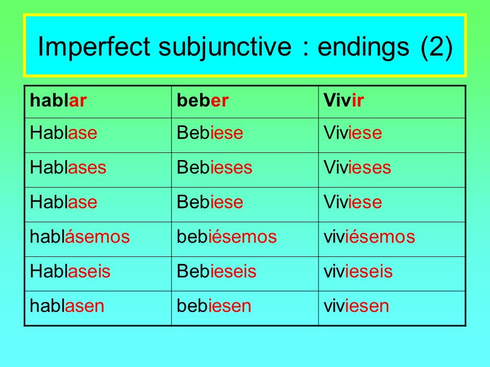 Imperfect subjunctive : endings (2)