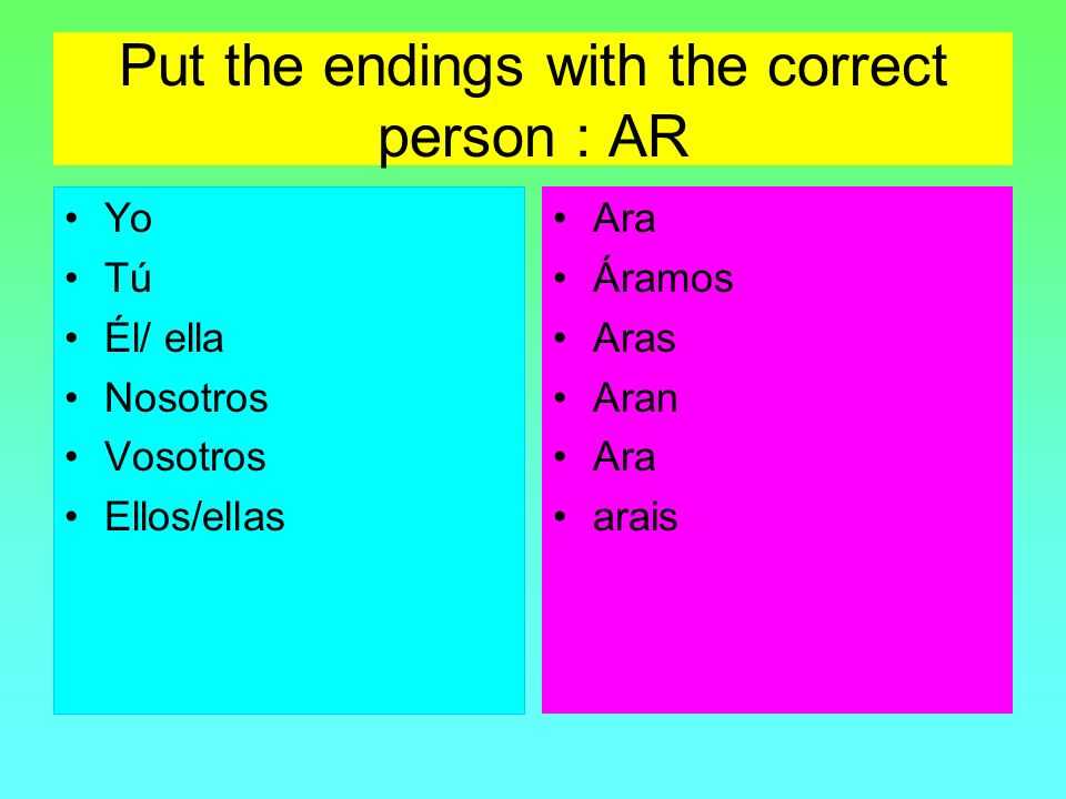 Put the endings with the correct person : AR
