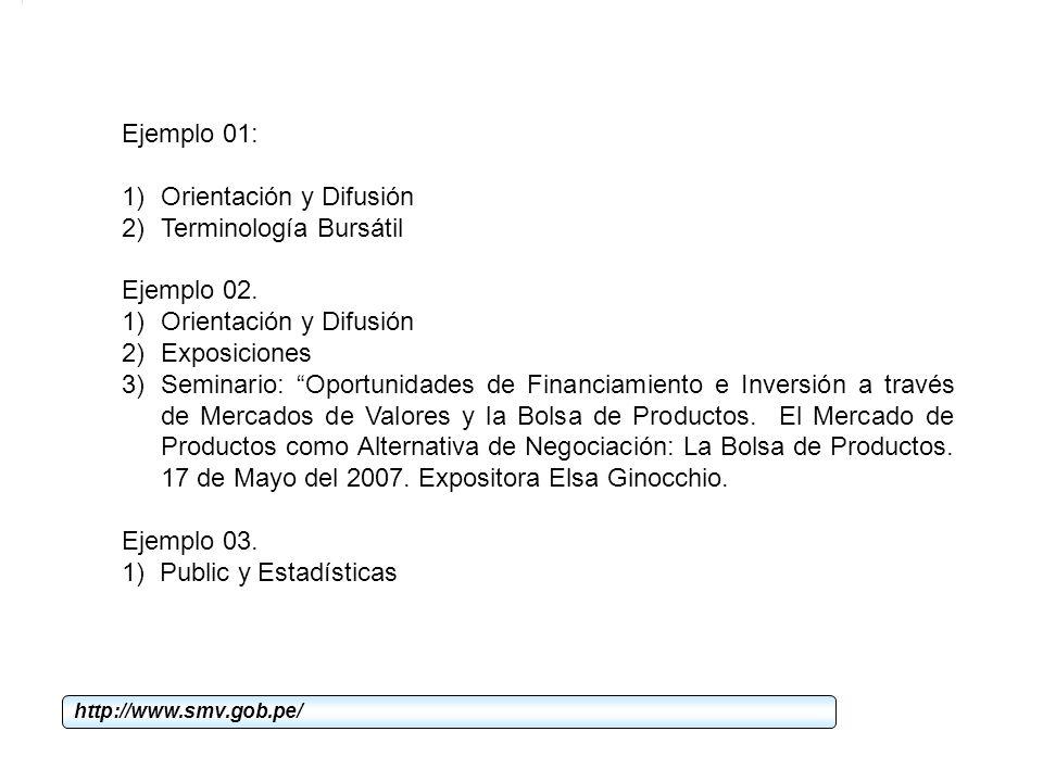 Orientación y Difusión Terminología Bursátil Ejemplo 02. Exposiciones