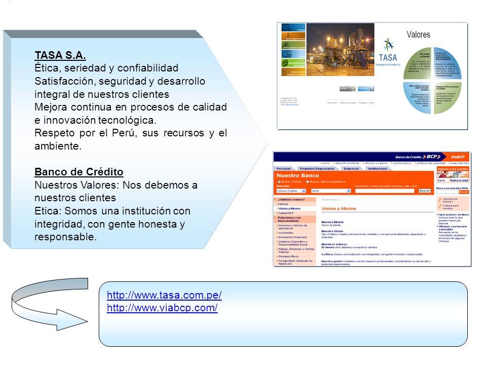 TASA S.A. Ética, seriedad y confiabilidad. Satisfacción, seguridad y desarrollo. integral de nuestros clientes.