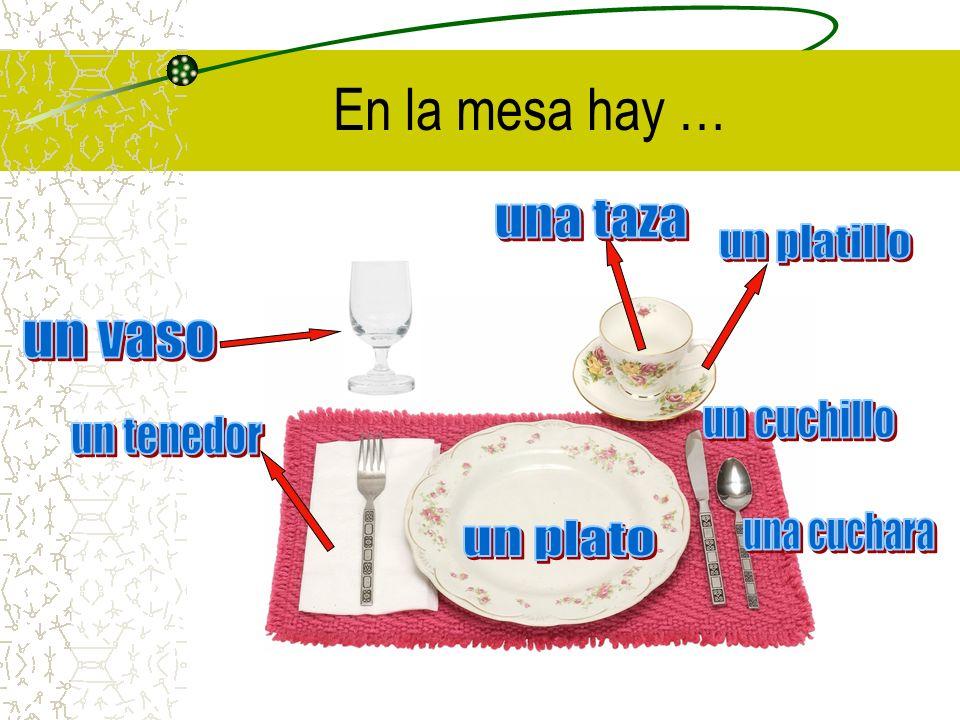 En la mesa hay … una taza un platillo un vaso un cuchillo un tenedor