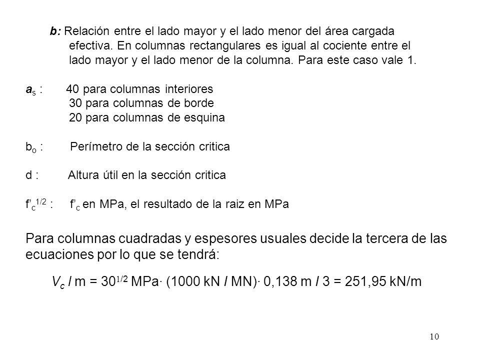 Vc l m = 301/2 MPa· (1000 kN I MN)· 0,138 m I 3 = 251,95 kN/m