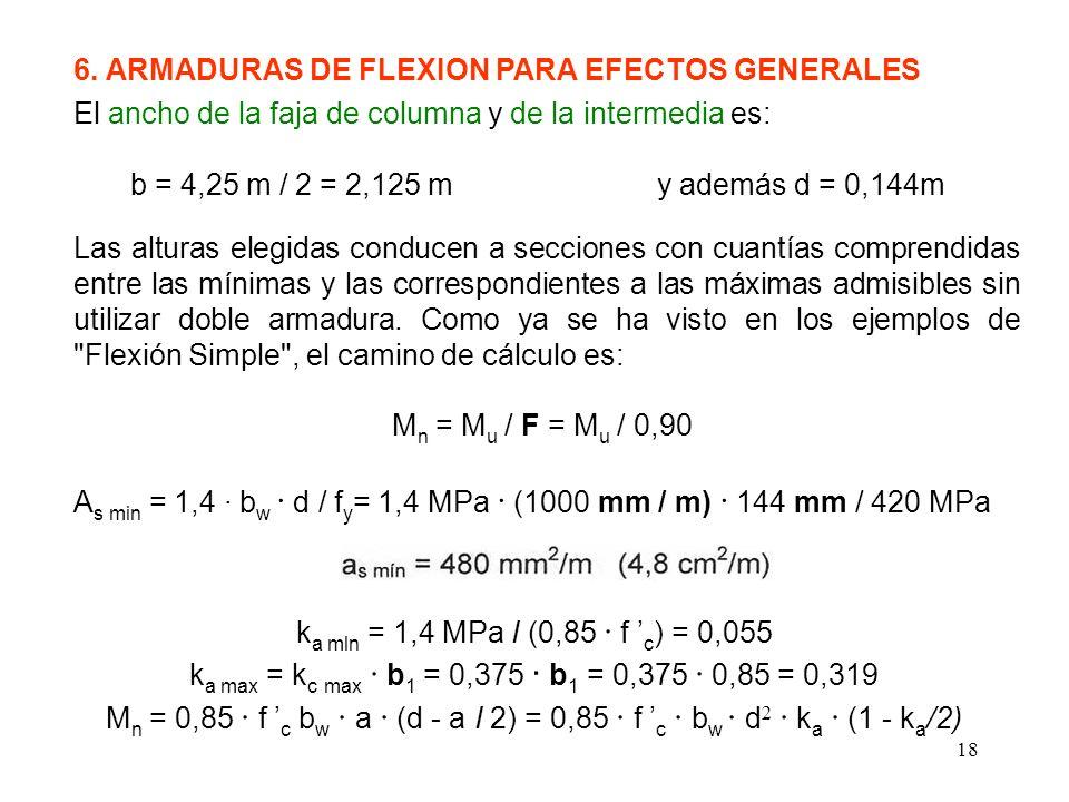 6. ARMADURAS DE FLEXION PARA EFECTOS GENERALES