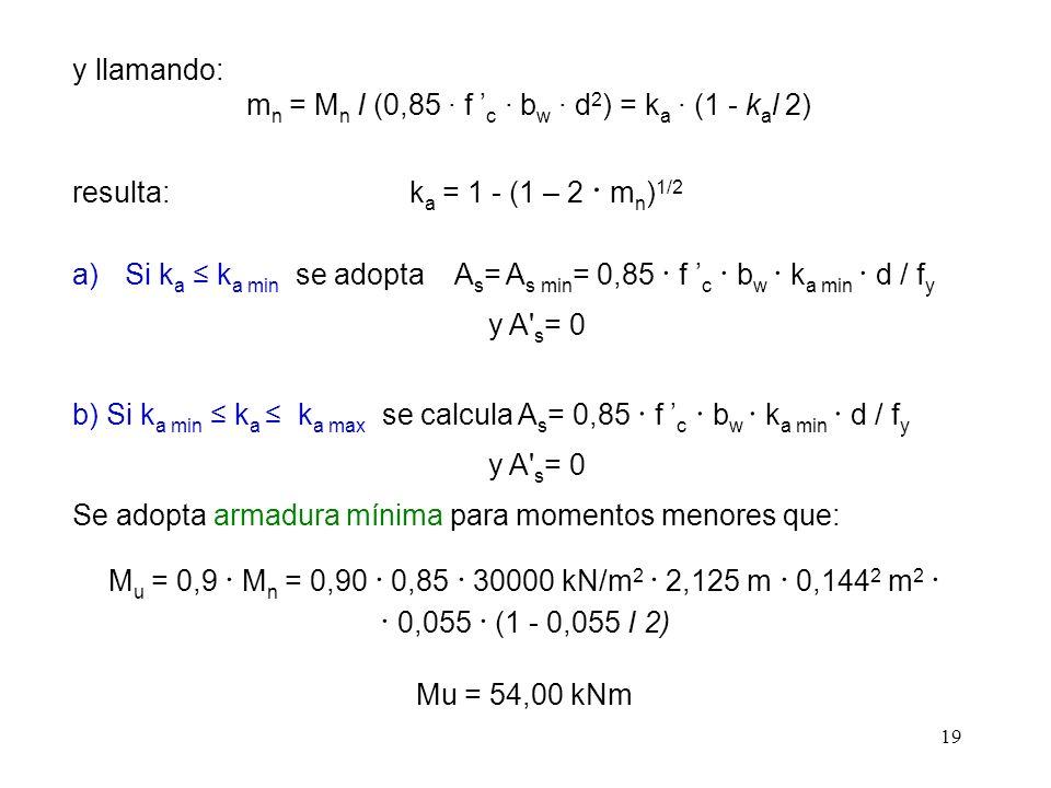 mn = Mn I (0,85 · f 'c · bw · d2) = ka · (1 - kal 2)