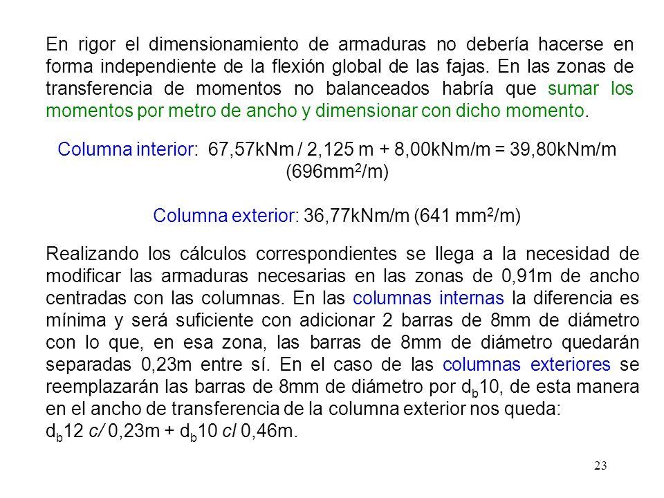 Columna exterior: 36,77kNm/m (641 mm2/m)