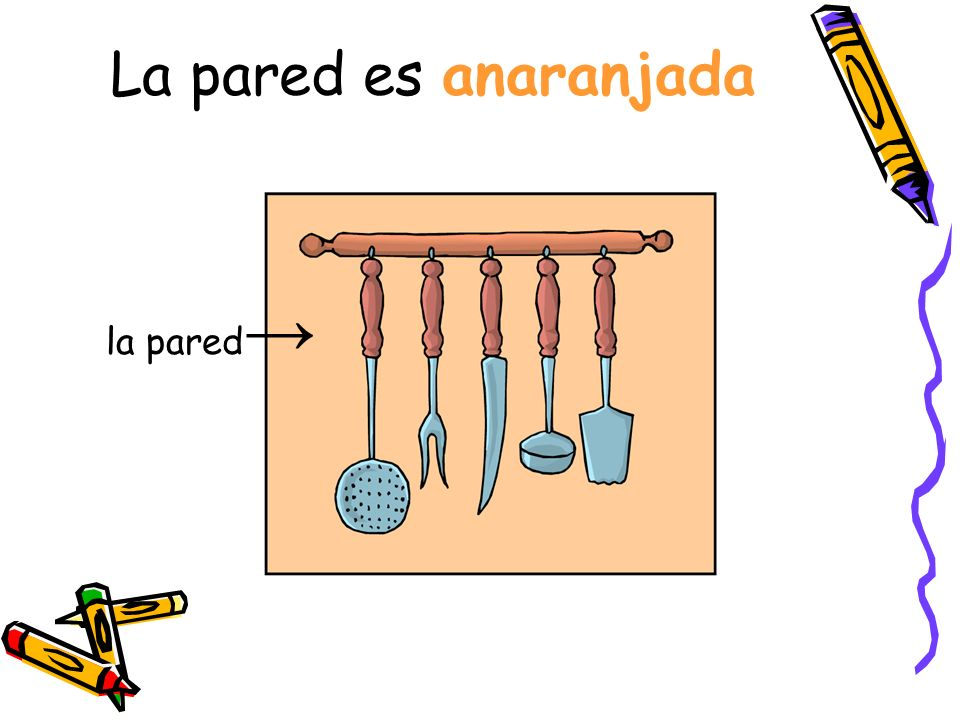 La pared es anaranjada la pared→