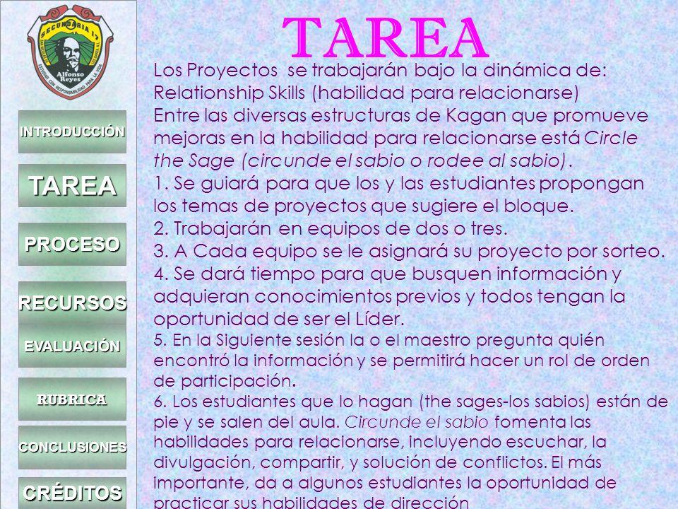 TAREA TAREA Los Proyectos se trabajarán bajo la dinámica de: