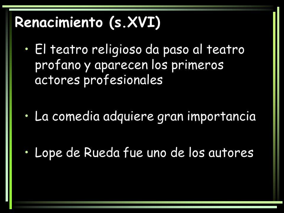 Renacimiento (s.XVI)El teatro religioso da paso al teatro profano y aparecen los primeros actores profesionales.