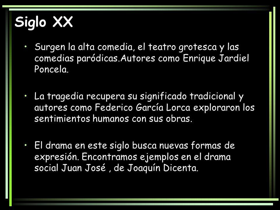 Siglo XX Surgen la alta comedia, el teatro grotesca y las comedias paródicas.Autores como Enrique Jardiel Poncela.