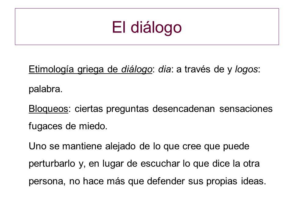 El diálogo Etimología griega de diálogo: dia: a través de y logos: palabra. Bloqueos: ciertas preguntas desencadenan sensaciones fugaces de miedo.